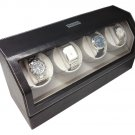 Heiden Automatic Quad Watch Winder - Black Leather