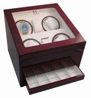 Heiden Automatic Quad Watch Winder with Drawer - Cherry Wood