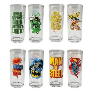 Vandor Justice League 4-Piece 10-Ounce Drinking Glass Set