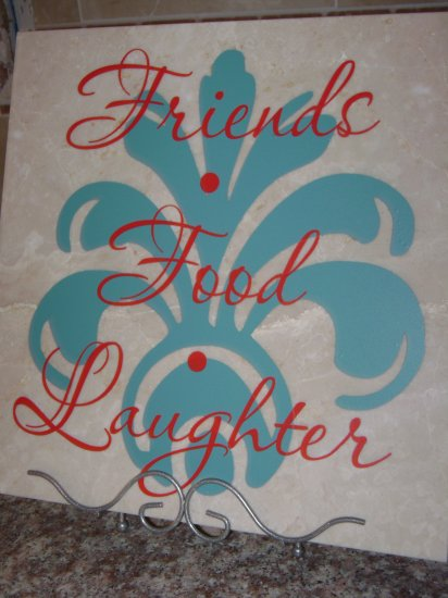 """""""Friends, Food, Laughter"""" Marble Tile"""