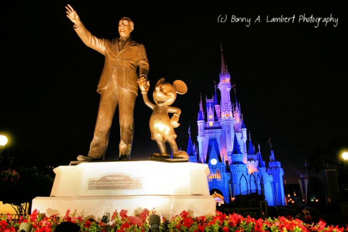 Partner's Statue and Cinderella Castle - Magic Kingdom - Digital Art Print 8 x 10