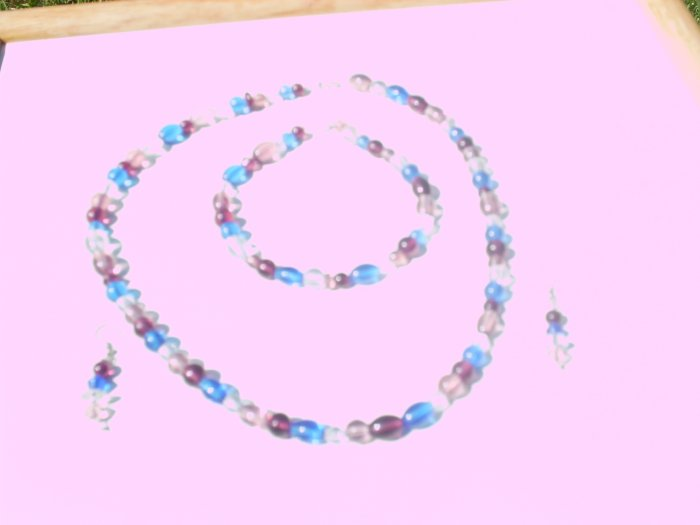 Plum Blue and White Bead Set