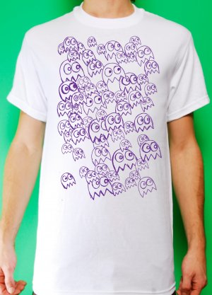 Pac Man Ghost Party Mens Light Blue and Purple ink on White T-shirt