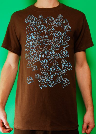 Pac Man Ghost Party Mens Blue ink on Brown T-shirt