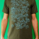 Pac Man Ghost Party Mens Blue ink on Military T-shirt