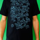 Pac Man Ghost Party Mens Blue ink on Navy T-shirt