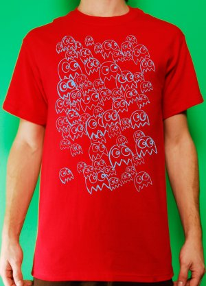 Pac Man Ghost Party Mens Blue ink on Red T-shirt