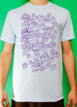 Pac Man Ghost Party Mens Purple ink on Light Blue T-shirt