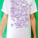 Pac Man Ghost Party Mens Purple ink on White T-shirt