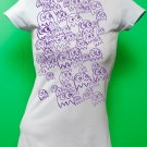 Pac Man Ghost Party Womens Purple ink on Light Blue T-shirt