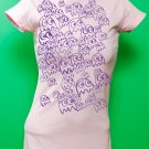 Pac Man Ghost Party Womens Purple ink on Pink T-shirt