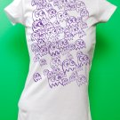 Pac Man Ghost Party Womens Purple ink on White T-shirt