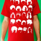 History of Rock N Roll Hair Mens White ink on Red T-shirt