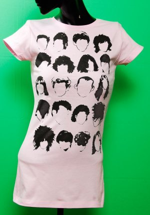 History of Rock N Roll Hair Womens Pink T-shirt