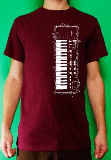 Casio sk-1 sampling synth keyboard analog retro vintage Mens Burgundy t-shirt