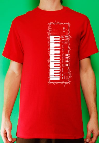 Casio sk-1 sampling synth keyboard analog retro vintage Mens Red t-shirt