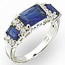 Montanna Blue / Sapphire Swarovski Crystal Sterling Silver Ring Size 7