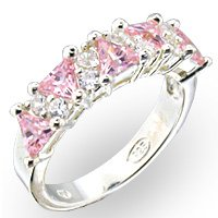 Sterling Silver Pink Diamond & Cubic Zirconia Ring- Size 6