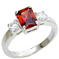 Sterling Silver Garnet & Cubic Zirconia Ring-size 7