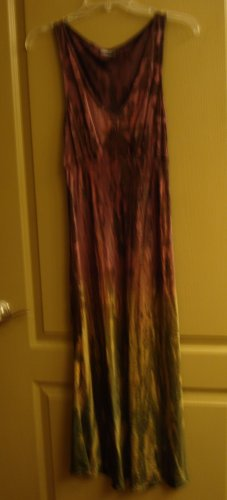 Annie Turbin DRESS Silk Couture hand tie dyed MAGENTA Green