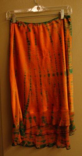 ANNIE TURBIN SKIRT Silk Couture tie dye Orange Green S