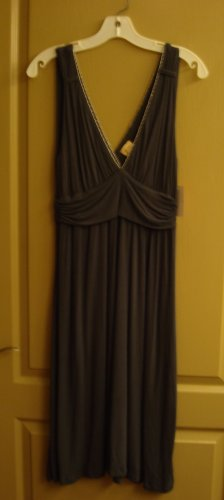 ELLA MOSS Grey GRAY V-Neck Dress Beading Soft Pretty L