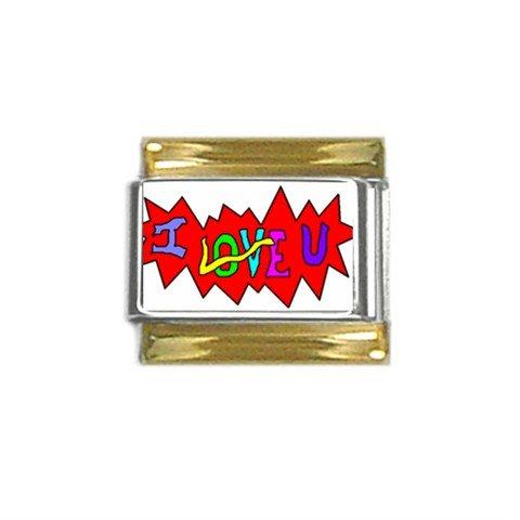 I Love U Gold Trim Italian Charm (9mm)