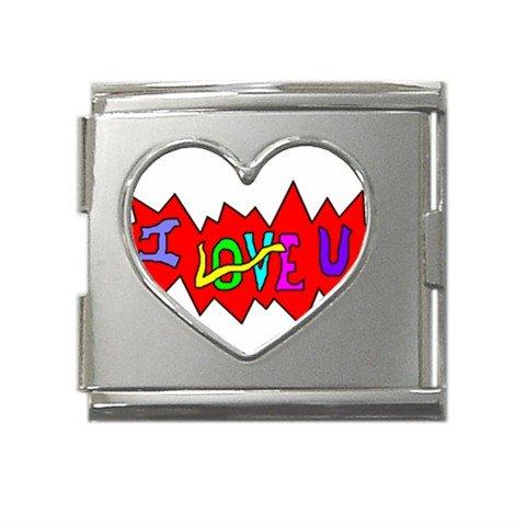 I Love U Mega Link Heart Italian Charm (18mm)