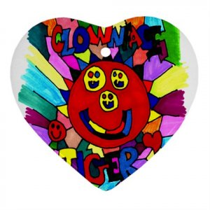 Clownface Tiger Ornament (Heart)