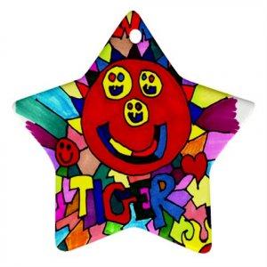 Clownface Tiger Ornament (Star)
