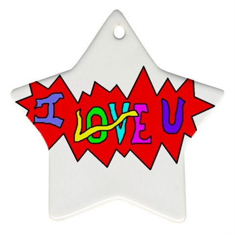 I Love U Ornament (Star)