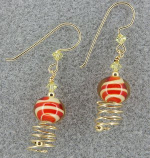 Passion Fruit orange lampwork earrings