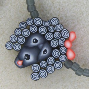 """""""Oodles of Poodles"""" necklace and bracelet set with handmade polymer clay"""