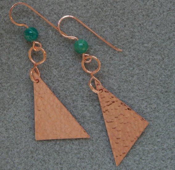 """""""Copper Hypotenuse"""" earrings"""