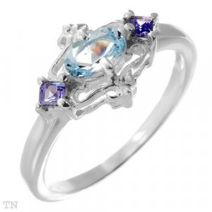 Sterling Silver Ring with Tanzanite and Topaz 0.85ctw Sz 7