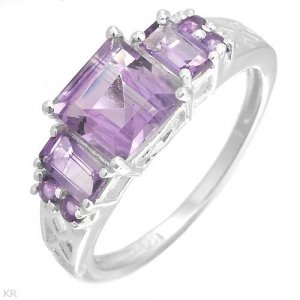 Genuine Amethyst 2.5ctw .925 Sterling Silver Ring Sz 8