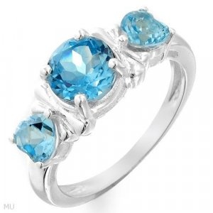 Genuine 2.6ctw Genuine Topaz & .925 Sterling Ring Sz 8