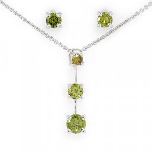 3.24 ctw Peridot & Sterling Silver Earrings with Necklace 18 in