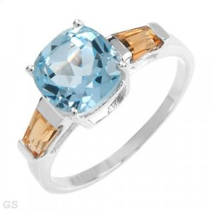 4.60ctw  Genuine Citrines and Topaz Sterling silver Ring - Size 6