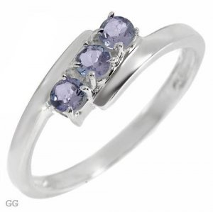 Stylish Ring With Genuine Tanzanites in 925 Sterling silver- Size 7
