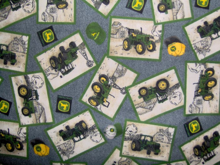 JOHN DEERE Tractor Patches on Blue Denim FLANNEL FABRIC LAST PIECE!  1+ YARD