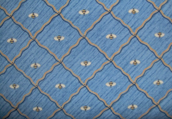 CREATIVE WOMAN Blue & Gold Quilting Bee Diamonds FABRIC SSI DEBBIE MUMM 2.67 YDS LAST PIECE