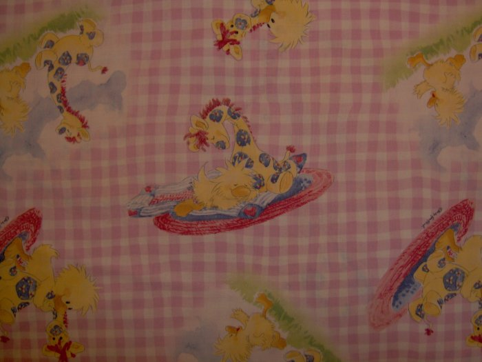 Little Suzy's Zoo Witzy Patches on Pink Gingham Cotton Baby Nursery Fabric by A.E. Nathan