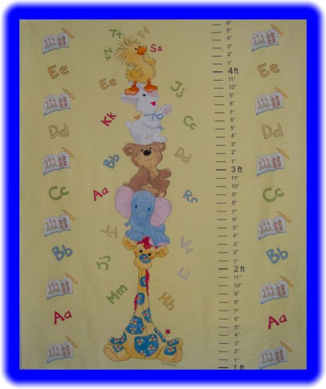 Little Suzy's Zoo Yellow Growth Chart Cotton Fabric Panel by AE Nathan