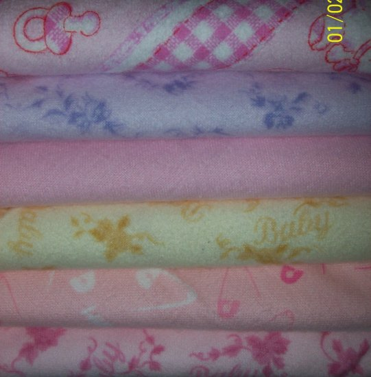 6 Fat Quarters Pastel Pink Purple Yellow Baby Flannel Fabric FQ Lot