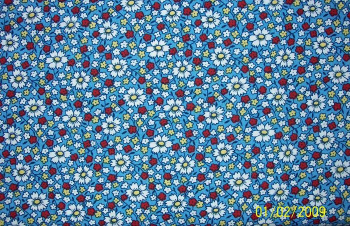 RJR Everything But the Kitchen Sink Daisies on Blue Calico Flowers 1930s Repro Quilt Fabric