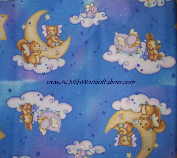 Bears Sheep Dogs Mice Bunnies & Squirrels on Clouds Moon Baby Crib Bumper Pad Fabric