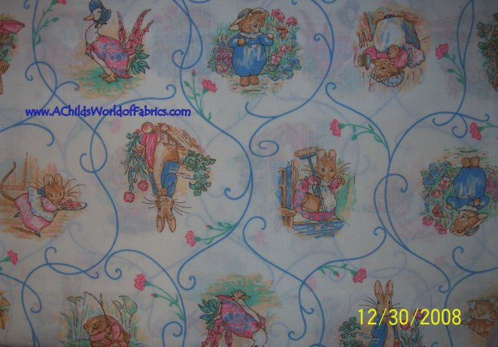 Vintage Beatrix Potter Scenic Vignettes and Scrolls 2 Piece Cotton Quilt Fabric Lot Bundle