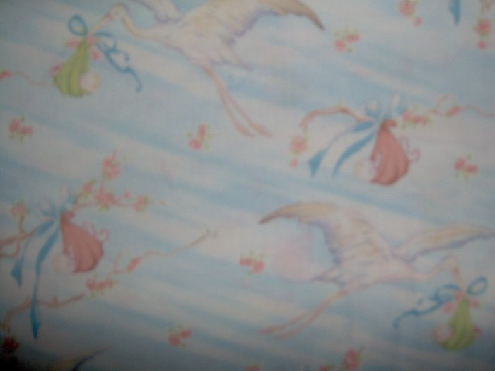 Henry Glass Co little Quilts Special Delivery Blue Stork Cotton Fabric 1.75 YD LAST PIECE