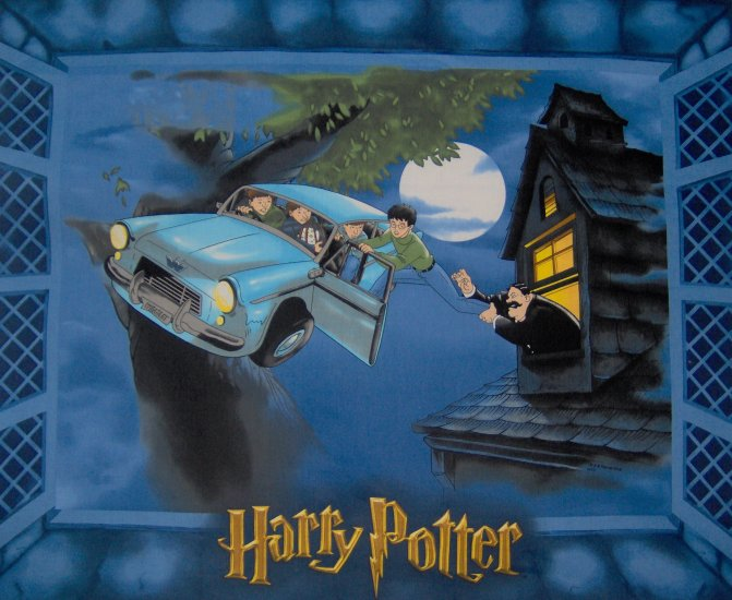 LAST PIECE! Harry Potter Flying Car Kids Cotton Fabric Panel
